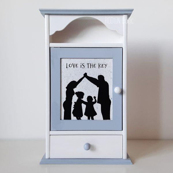 Cuier dulapior chei familie pictat manual personalizat cu mesaj