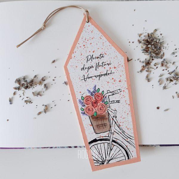 Semn de carte bicicleta fluturi pictat manul personalizat cu mesaj