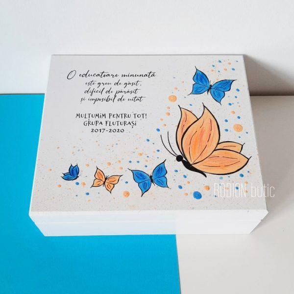 Cutie bijuterii fluturi educatoare pictata manual personalizata cu mesaj