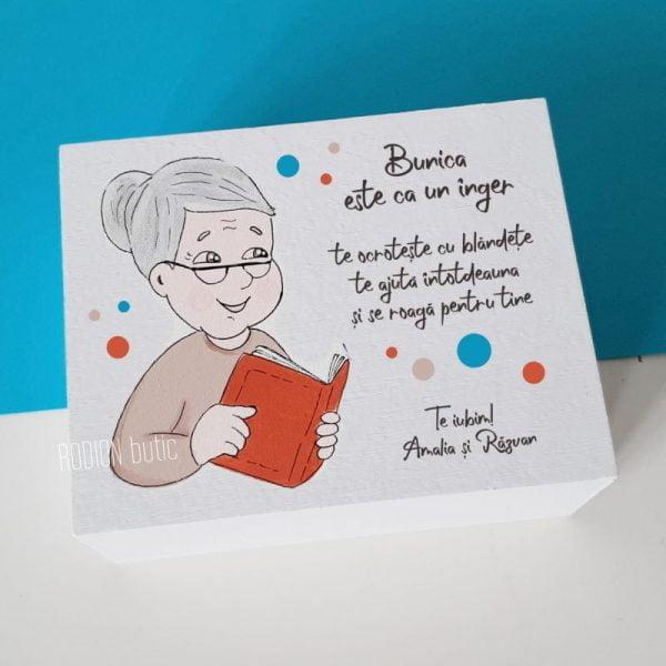 Cutie amintiri bunica pictata manual personalizata cu mesaj