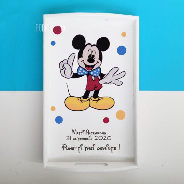 Tava taierea motului Mickey Mouse personalizata cu nume si data pictata manual