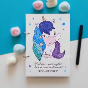 Caiet pentru amintiri fetita unicorn personalizat pictat manual