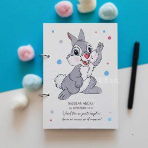 Guest book botez baietel Thumper pictat personalizat cu mesaj si nume