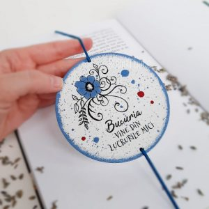 Semn de carte floare pictat manual handmade personalizat cu mesaj