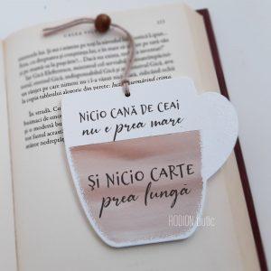 Semn carte ceai cu mesaj pictat manual personalizat