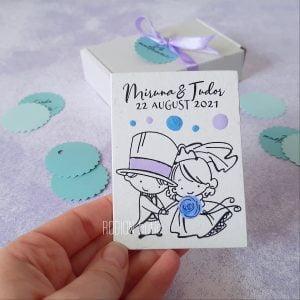 Marturii personalizate nunta handmade pictate cu magnet